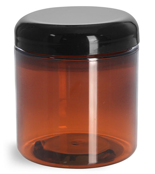 8 oz Plastic Jars, Amber PET Straight Sided Jars w/ Lined Black Dome Caps