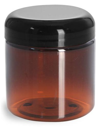 4 oz Plastic Jars, Amber PET Straight Sided Jars w/ Lined Black Dome Caps