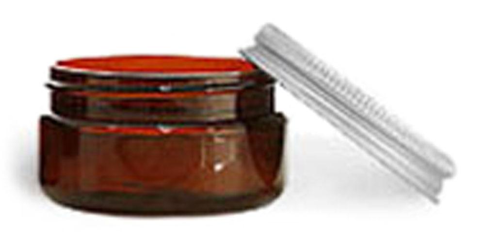2 oz Amber PET Heavy Wall Jars w/ Lined Aluminum Caps