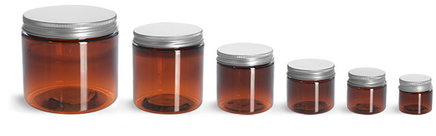 PET Plastic Jars, Amber Straight Sided Jars w/ Lined Aluminum Caps