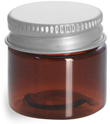 1/2 oz Amber PET Jars w/ Lined Aluminum Caps
