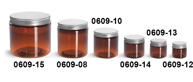 Plastic Jars, Amber PET Straight Sided Jars w/ Lined Aluminum Caps