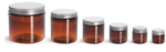 Amber PET Straight Sided Jars w/ Lined Aluminum Caps