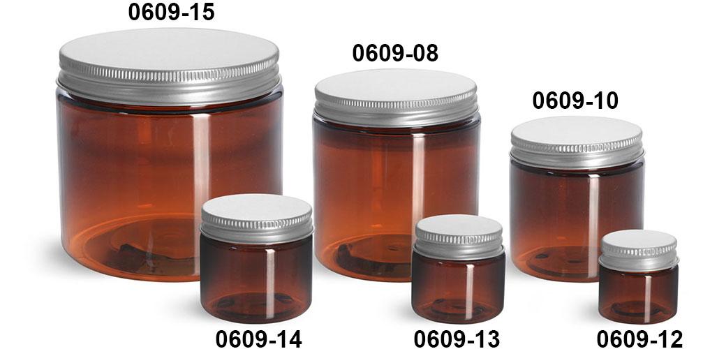 Plastic Jars, Amber PET Straight Sided Jars w/ Lined Aluminum Caps