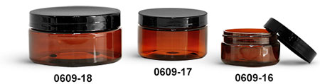 Plastic Jars, Amber PET Heavy Wall Jars w/ Black Smooth Plastic Lined Caps