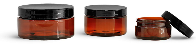 PET Plastic Jars, Amber Heavy Wall Jars w/ Black Smooth Plastic Lined Caps