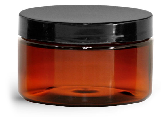 4 oz Amber PET Heavy Wall Jars w/ Black Smooth Plastic Lined Caps