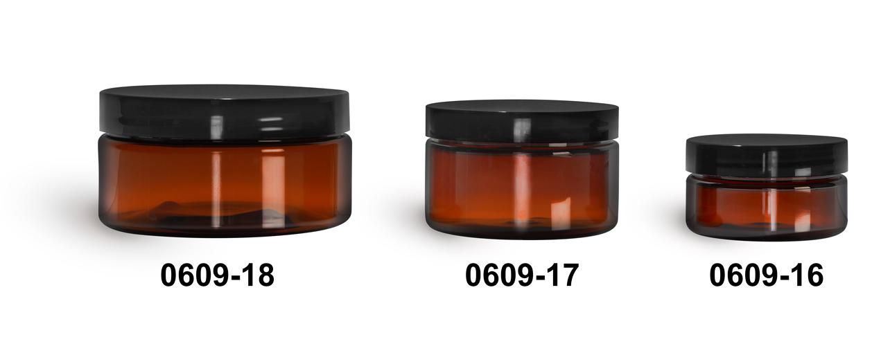 Plastic Jars, Amber PET Heavy Wall Jars w/ Black Smooth Plastic Lined Caps