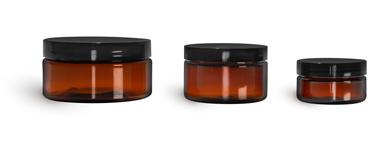 PET Plastic Jars, Amber Heavy Wall Jars w/ Black Smooth Plastic Lined Caps
