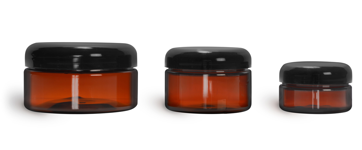 PET Plastic Jars, Amber Heavy Wall Jars w/ Lined Black Dome Caps
