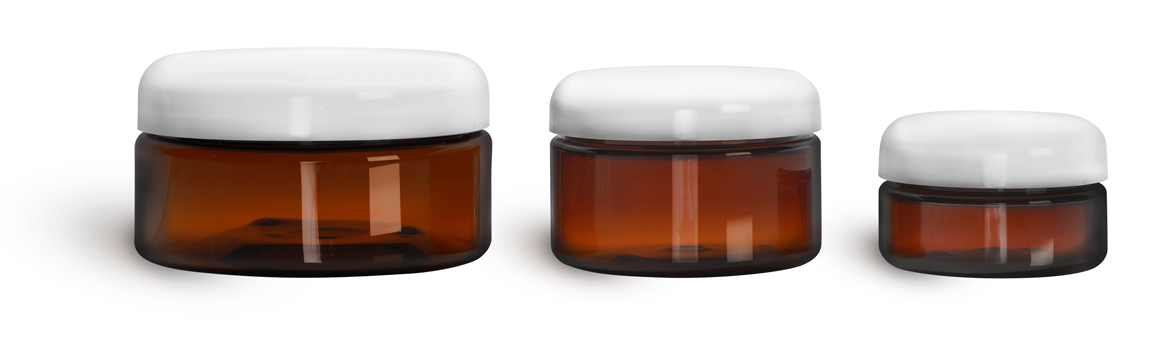 Plastic Jars, Amber PET Heavy Wall Jars w/ Lined White Dome Caps