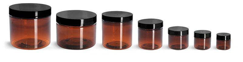 PET Plastic Jars, Amber Straight Sided Jars w/ Black Smooth Plastic Lined Caps