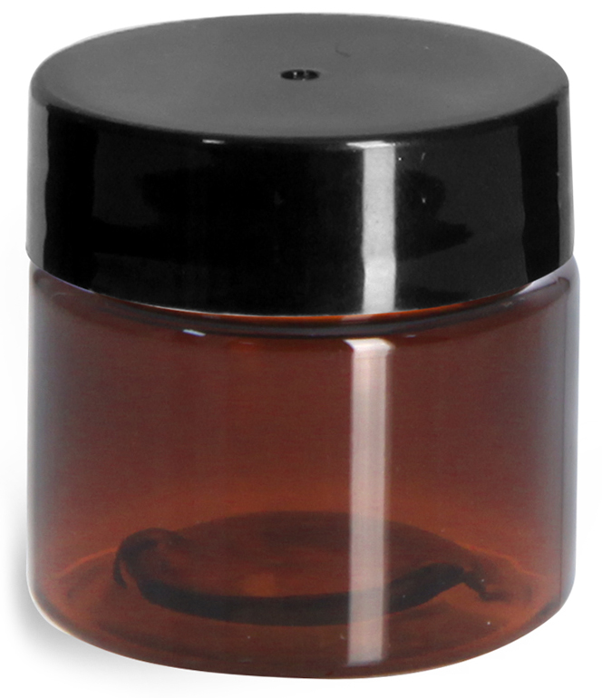 1/2 oz Amber PET Straight Sided Jars w/ Black Smooth Plastic Lined Caps