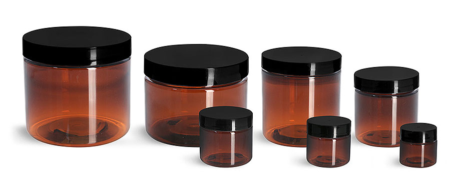 Plastic Jars, Amber PET Straight Sided Jars w/ Black Smooth Plastic Lined Caps
