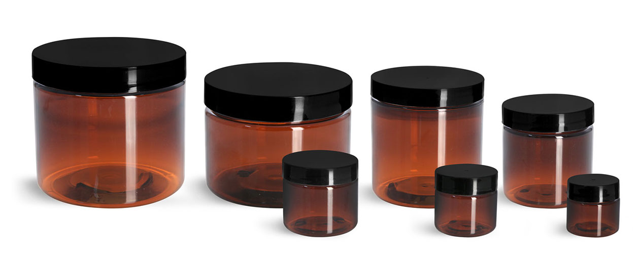 PET Plastic Jars, Amber Straight Sided Jars w/ Black Smooth Plastic Lined Caps