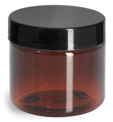 2 oz Amber PET Straight Sided Jars w/ Black Smooth Plastic Lined Caps