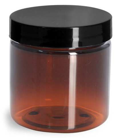 4 oz Amber PET Straight Sided Jars w/ Black Smooth Plastic Lined Caps