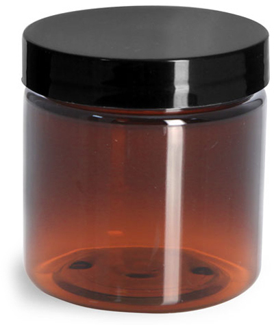 Amber PET Straight Sided Jars w/ Black Smooth Plastic Lined Caps