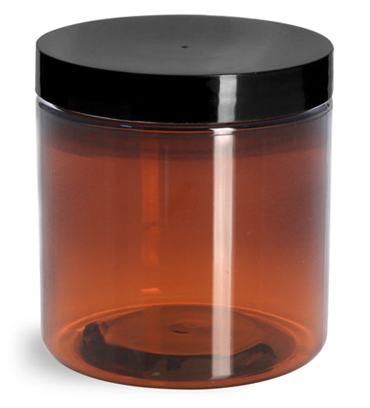 8 oz Amber PET Straight Sided Jars w/ Black Smooth Plastic Lined Caps