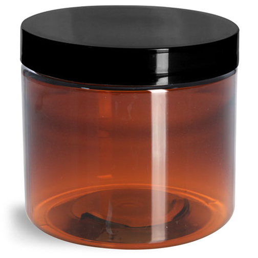 16 oz Amber PET Straight Sided Jars w/ Black Smooth Plastic Lined Caps
