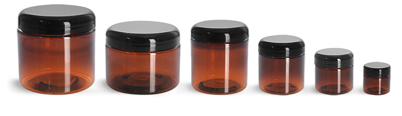 PET Plastic Jars, Amber Straight Sided Jars w/ Lined Black Dome Caps