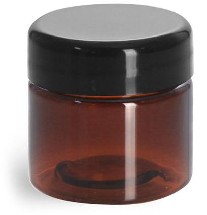 1/2 oz Plastic Jars, Amber PET Straight Sided Jars w/ Lined Black Dome Caps