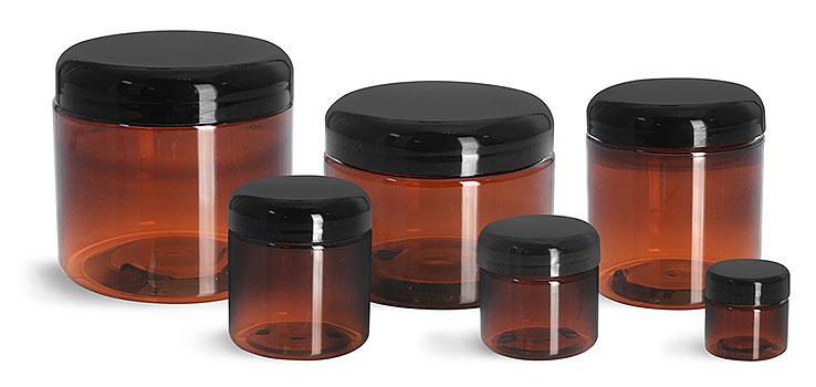 Plastic Jars, Amber PET Straight Sided Jars w/ Lined Black Dome Caps
