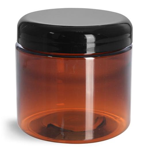 16 oz Plastic Jars, Amber PET Straight Sided Jars w/ Lined Black Dome Caps