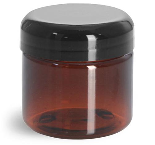 2 oz Plastic Jars, Amber PET Straight Sided Jars w/ Lined Black Dome Caps