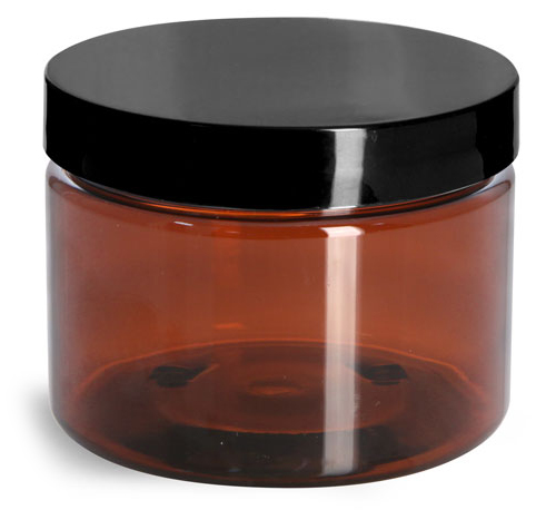 12 oz Amber PET Straight Sided Jars w/ Black Smooth Lined Caps