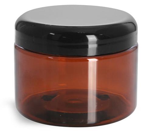 12 oz Plastic Jars, Amber PET Straight Sided Jars w/ Lined Black Dome Caps