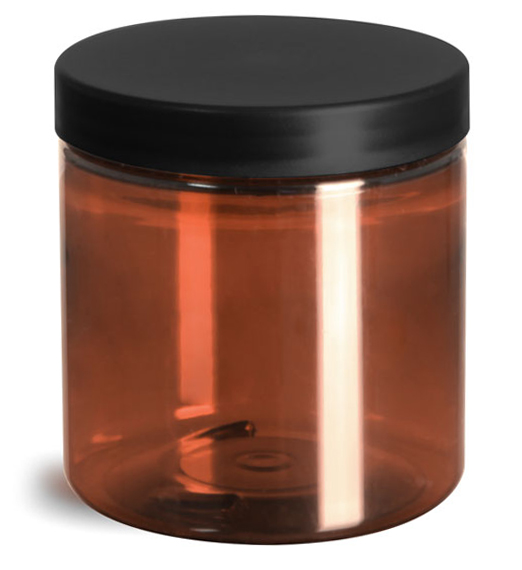 Plastic Jars, Amber PET Straight Sided Jars w/ Frosted Black Lined Caps