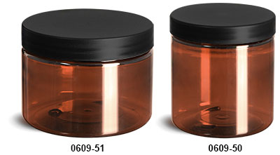 Plastic Jars, Amber PET Straight Sided Jars w/ Frosted Black Lined Plastic Caps