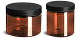 PET Plastic Jars, Amber Straight Sided Jars w/ Frosted Black Lined Plastic Caps