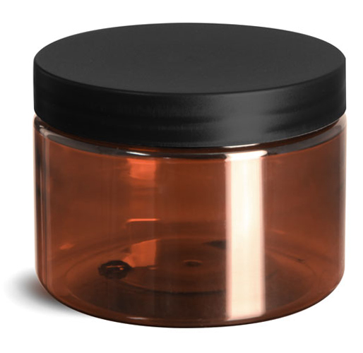 12 oz Plastic Jars, Amber PET Straight Sided Jars w/ Frosted Black Lined Caps