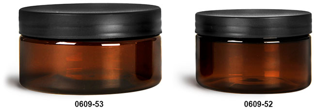 Plastic Jars, Amber PET Heavy Wall Jars w/ Frosted Black Lined Plastic Caps