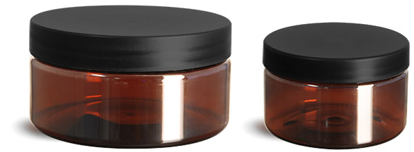 PET Plastic Jars, Amber Heavy Wall Jars w/ Frosted Black Lined Plastic Caps