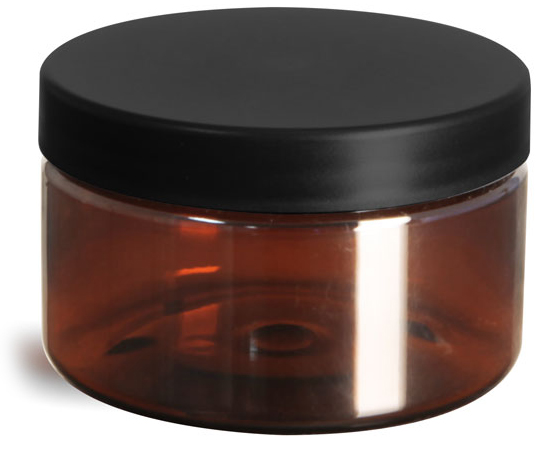4 oz Plastic Jars, Amber PET Heavy Wall Jars w/ Frosted Black Lined Caps