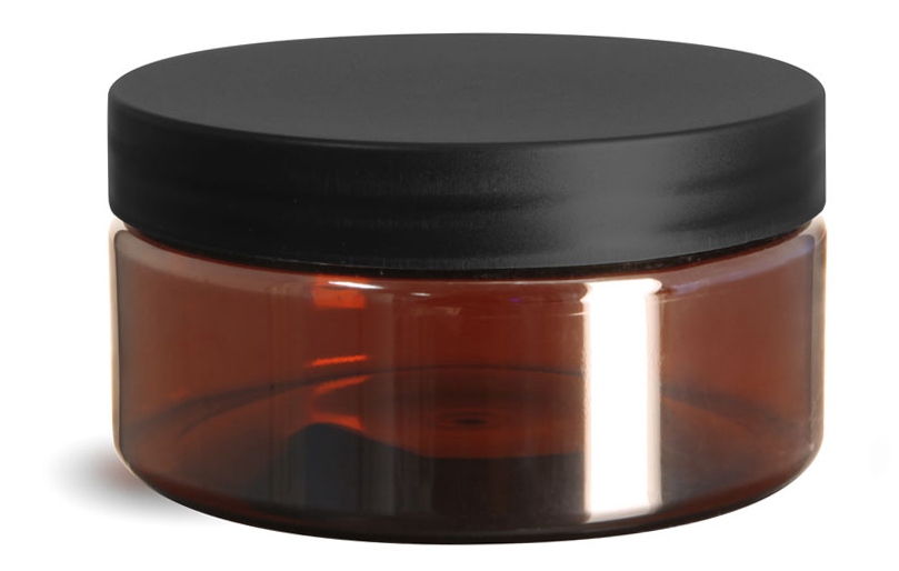 Plastic Jars, Amber PET Heavy Wall Jars w/ Frosted Black Lined Caps