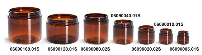 Plastic Jars, Amber PET Straight Sided Jars (Bulk), Caps Not Included