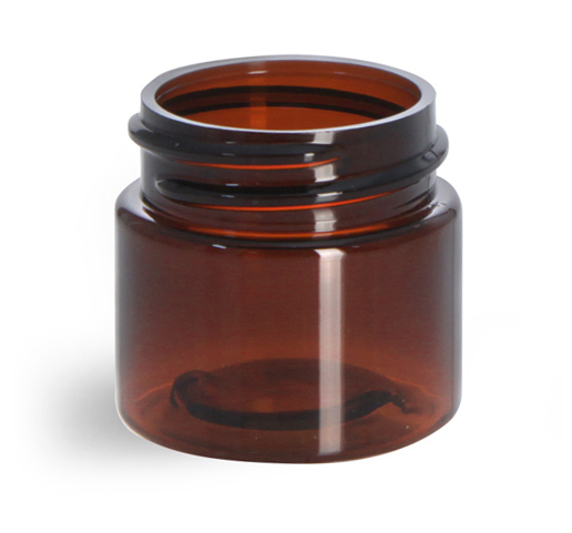 1/2 oz Amber PET Straight Sided Jars (Bulk), Caps Not Included