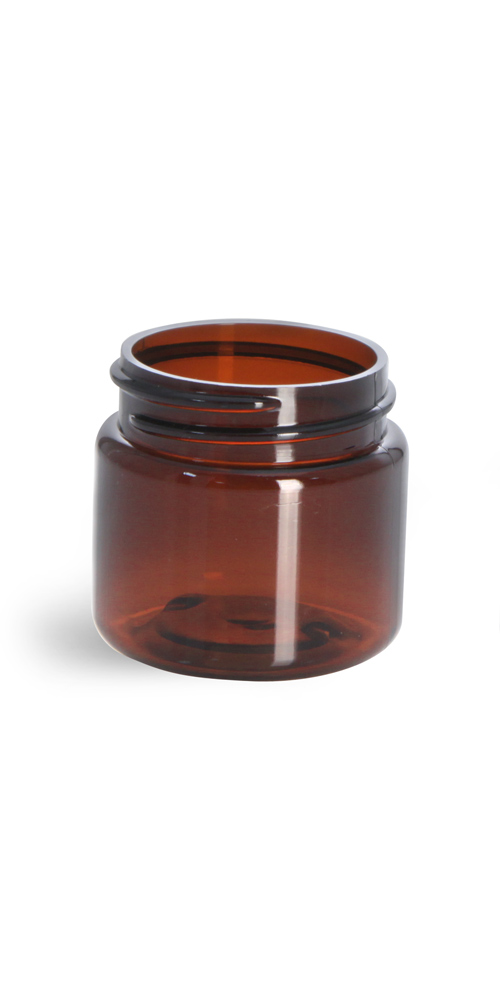 1 oz Amber PET Straight Sided Jars (Bulk), Caps Not Included