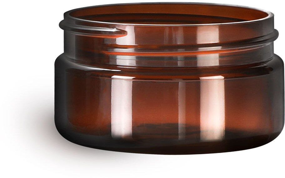 Amber PET Heavy Wall Jars (Bulk), Caps Not Included