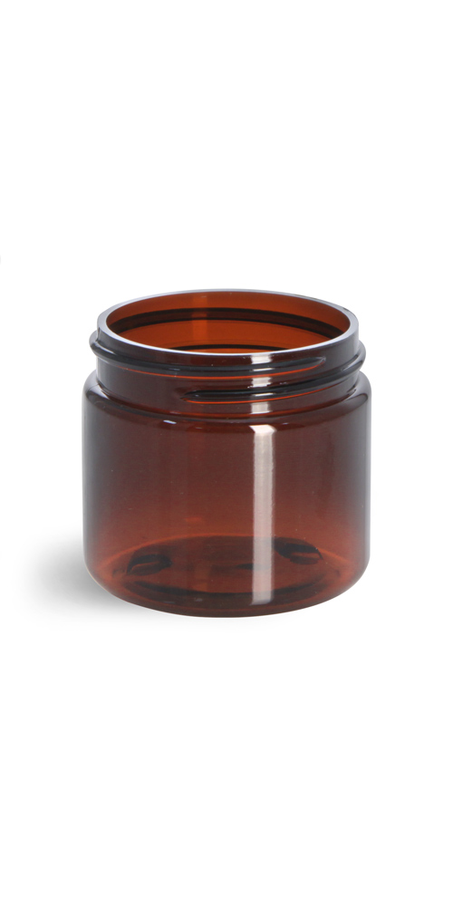 2 oz Amber PET Straight Sided Jars (Bulk), Caps Not Included