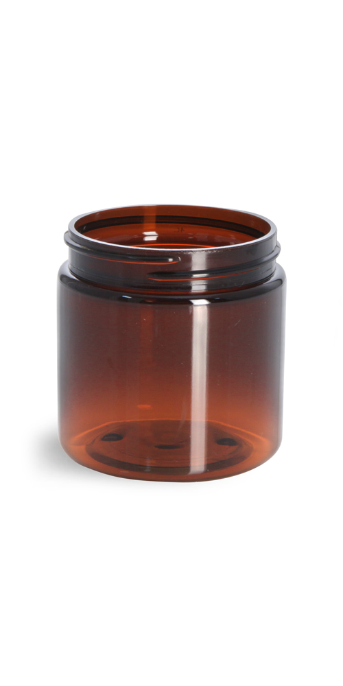4 oz Amber PET Straight Sided Jars (Bulk), Caps Not Included