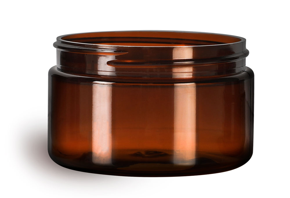 4 oz Amber PET Heavy Wall Jars (Bulk), Caps Not Included