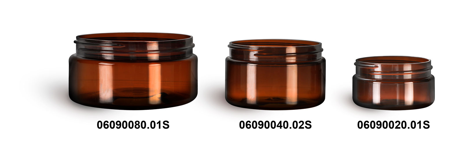 Plastic Jars, Amber PET Heavy Wall Jars (Bulk), Caps Not Included