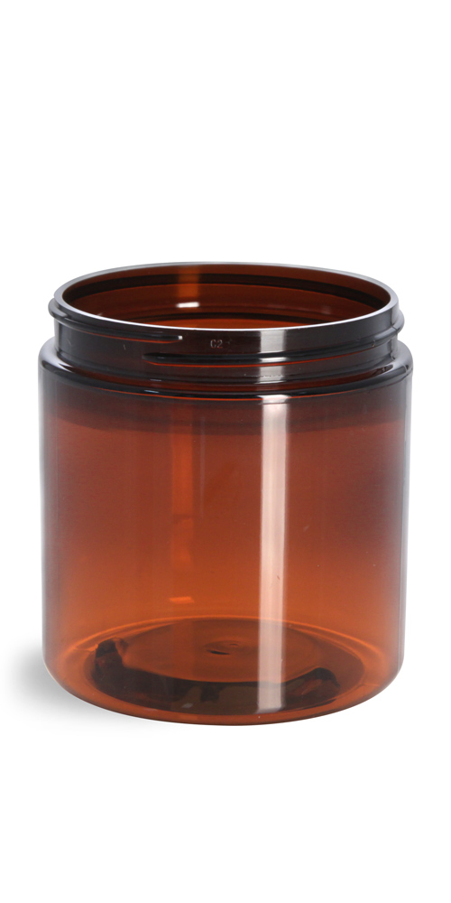 8 oz Amber PET Straight Sided Jars (Bulk), Caps Not Included