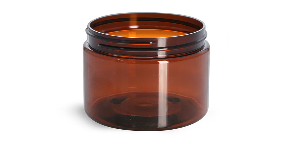 12 oz Amber PET Straight Sided Jars (Bulk), Caps NOT Included