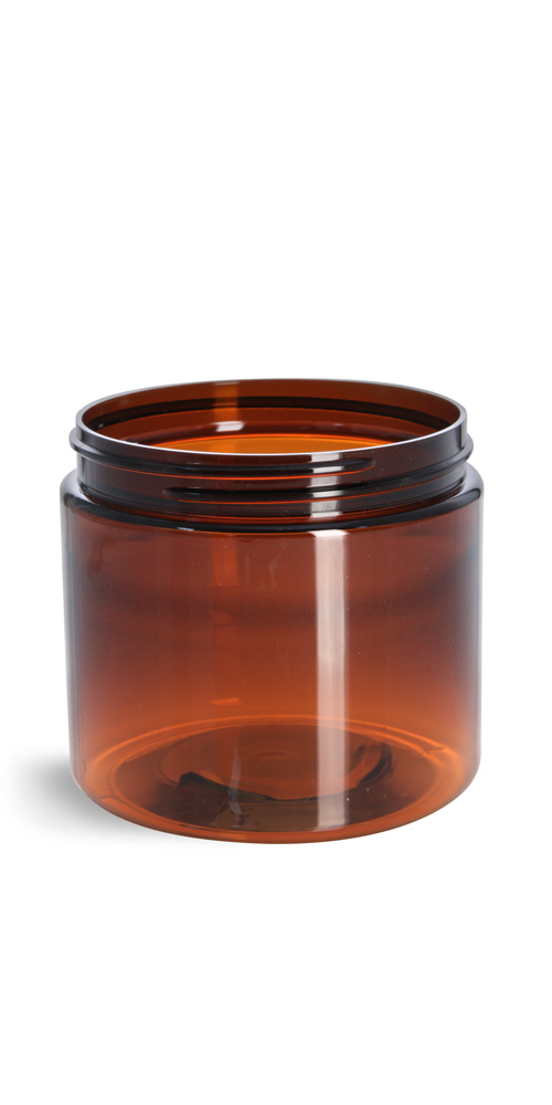 16 oz Amber PET Straight Sided Jars (Bulk), Caps Not Included